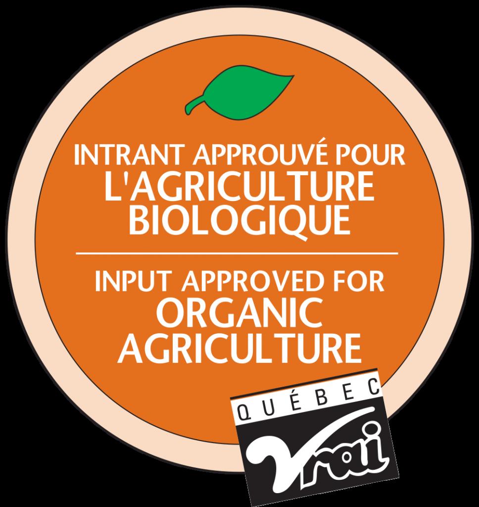 Approuvé pour l'agriculture biologique par Québec Vrai